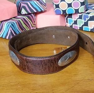 Brown Leather Belt With Silver Oval Conchos